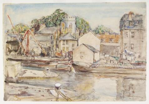 The Locks on Grand Union Canal at #Brentford Village 1940 by Archibald Standish Hartrick